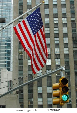 Us Flag And Traffic Lights In New York City