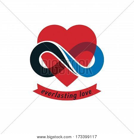 Eternal Love conceptual sign vector symbol created with infinity loop sign and heart.