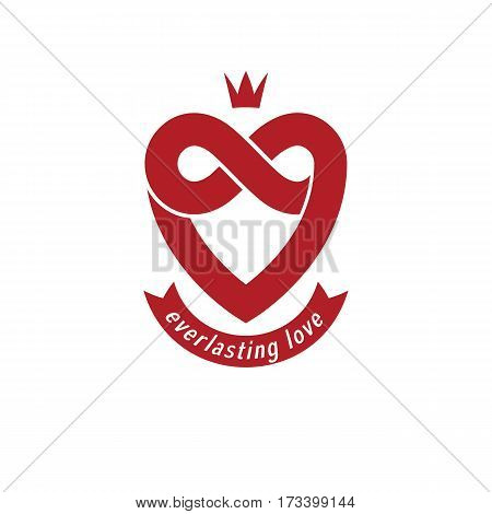 Everlasting Love concept vector symbol created with infinity loop sign and heart.