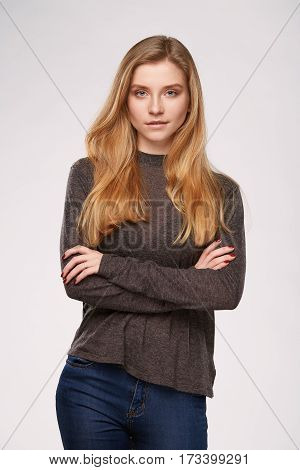 Woman girl in usual clothes wear everyday studio isolated