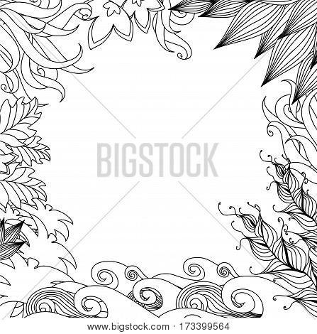 Doodle Nature Frame. Monochrome Design Style