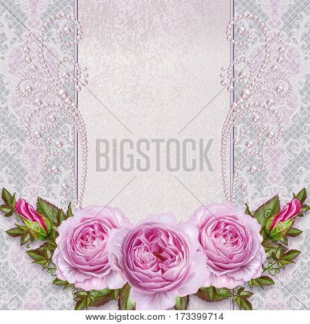 Flower composition. Old vintage style greeting card. Bouquet delicate pastel roses. Openwork curls of white pearls decorated with decoration of beads.