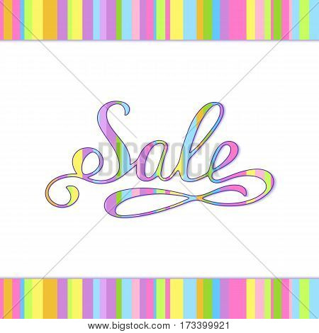 Colorful Tabby Handmade Inscription Sale for your Shop. Placard or Signboard Handwritten Striped Sale.