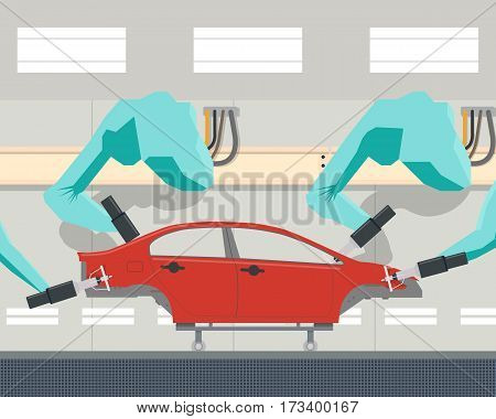 Automated car body painting in modern manufacturing with the help of a robotic manipulator arm. Vector illustration