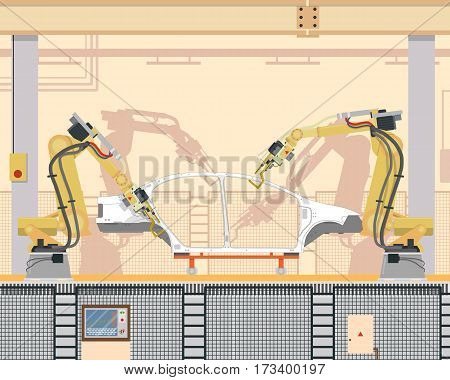 Automated assembly and welding the car body in the modern production with the help of a robotic manipulator arm on the assembly line. Vector illustration