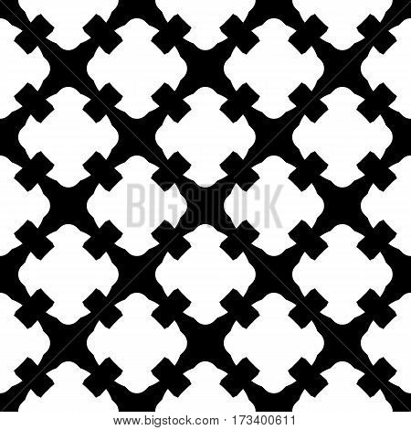 Vector seamless pattern. Simple black & white geometric texture. Endless ornamental background, retro gothic style. Symmetric square abstract backdrop. Repeat tiles. Design element for decoration, prints, textile, fabric, cloth