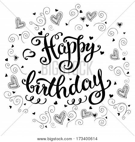 Happy Birthday Card, Hand Drawn Lettering On White Background
