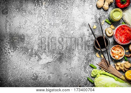 Asian Food. Fresh Ingredients For Cooking Chinese Food On A Rustic Background .