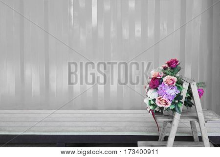 Various of flowers on monochromatic background.Bouquet rose