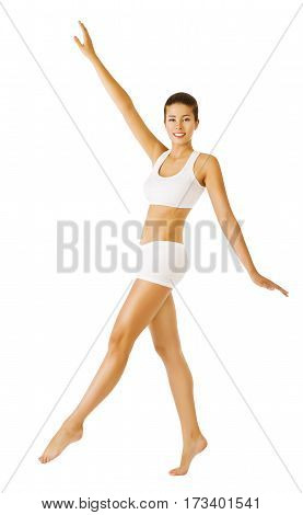 Woman Slim Body Beauty in Sport Underwear Girl in White Topic and Shorts Hand Up looking at camera white Isolated