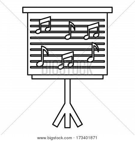 Musical notes on stand icon. Outline illustration of musical notes on stand vector icon for web