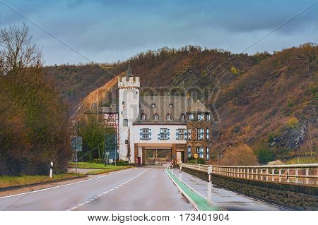 Castle of the Leyen road passing the castle near Kobern Gondorf on the Moselle River Germany.
