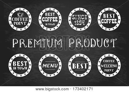 Set of vintage coffee  labels, hand drawn on blackboard, stock vector illustration,