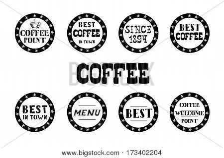 Set of vintage coffee  labels, hand drawn on white background, stock vector illustration