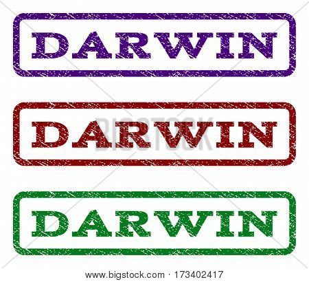 Darwin watermark stamp. Text tag inside rounded rectangle frame with grunge design style. Vector variants are indigo blue red green ink colors. Rubber seal stamp with scratched texture.