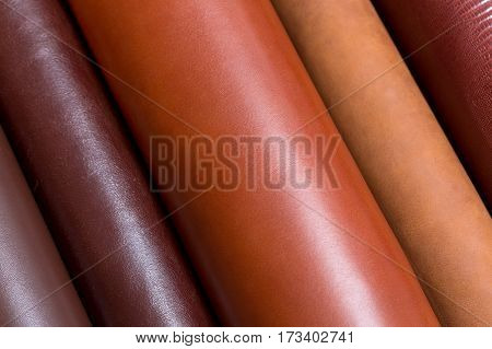 Close up of natural shinny leather samples for fashion industry. High resolution photo.