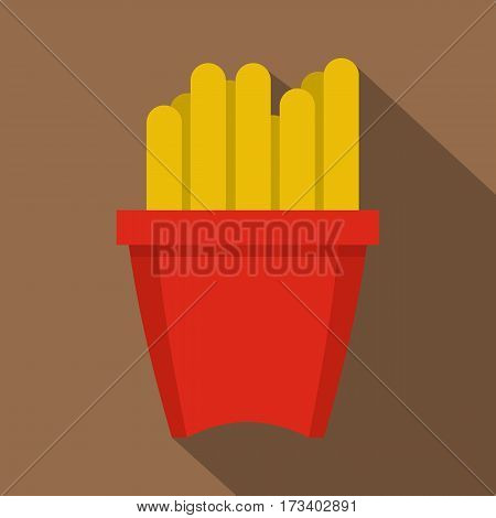 French fries in a red box icon. Flat illustration of french fries in a red box vector icon for web isolated on coffee background