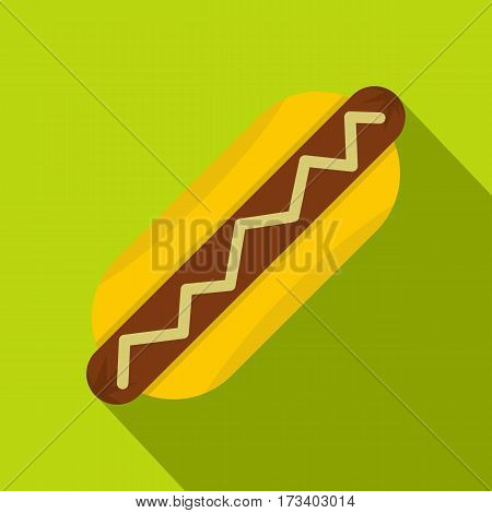 Hot dog with mustard icon. Flat illustration of hot dog with mustard vector icon for web isolated on lime background