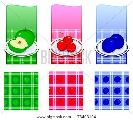Set of backgrounds with food. A plate with food on the kitchen tablecloth. Vector illustration
