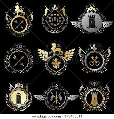Collection of vector heraldic decorative coat of arms isolated on white and created using vintage design elements monarch crowns pentagonal stars armory wild animals.