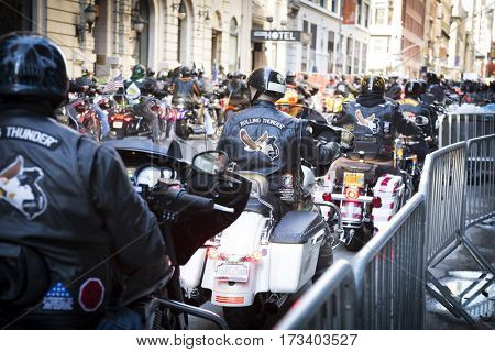 NEW YORK - 11 NOV 2016: Bikers from the Rolling Thunder MC on motorcycles participate in the annual Americas Parade up 5th Avenue on Veterans Day in Manhattan.