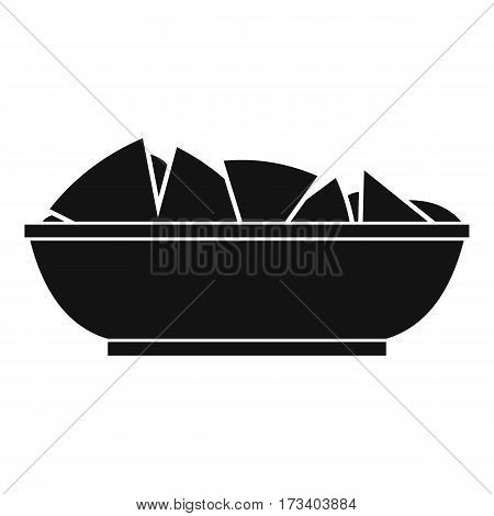 Nachos in bowl icon. Simple illustration of nachos in bowl vector icon for web