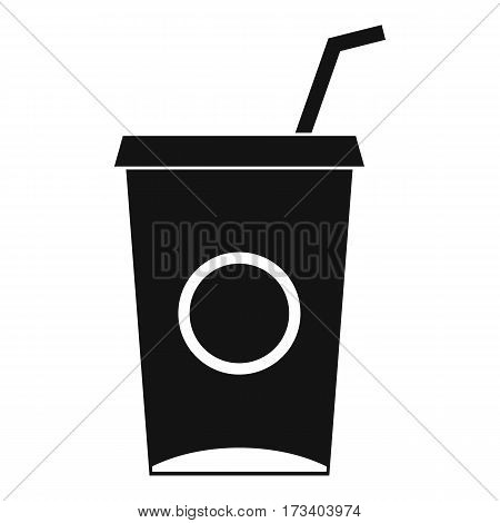 Soft drink in paper cup icon. Simple illustration of soft drink in paper cup vector icon for web