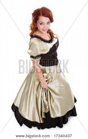 Junge attraktive Smiley Frau im Ball-Kleid. Ansicht von oben.