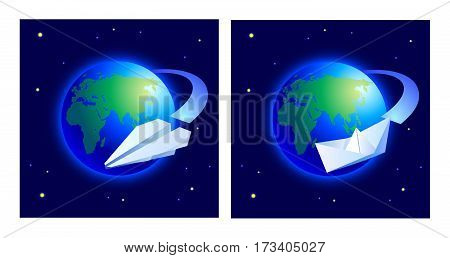 Conceptual symbols world tour by sea and air. Vector illustration