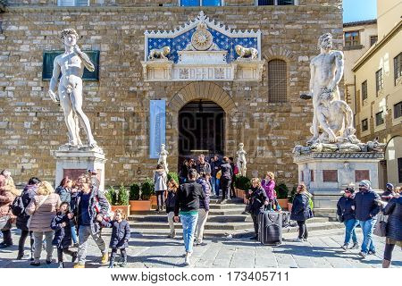 Statue Of David And Hercules In Florence