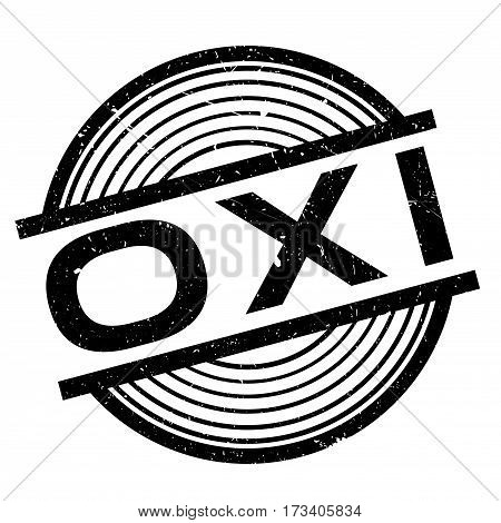 Oxi NO In Greek rubber stamp. Grunge design with dust scratches. Effects can be easily removed for a clean, crisp look. Color is easily changed.