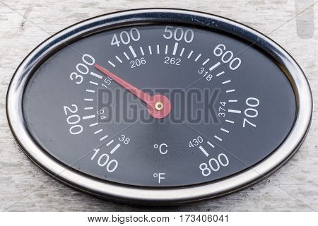 Thermometer On A Grill Showing Temperature
