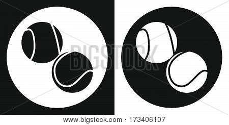 Tennis ball icon. Silhouette tennis ball on a black and white background. Sports Equipment. Vector Illustration