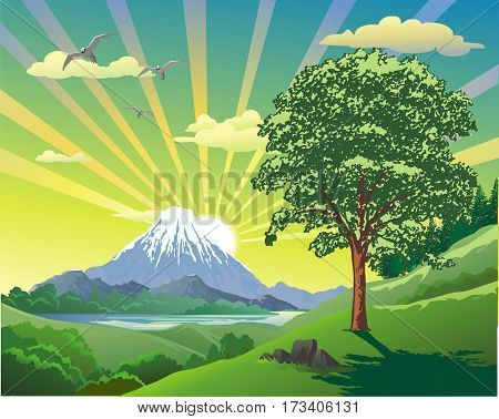 Summer landscape. The volcano at the lake. The view from the hill to the ridge. Vector illustration