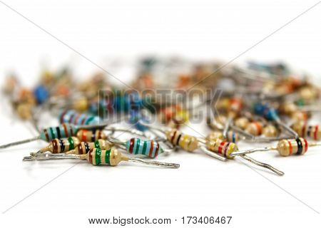 Resistors on a white background closeup focus on foreground
