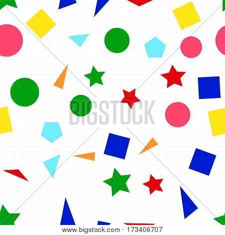 Vector illustration of a seamless pattern of colorful simple shapes - squares triangles circles and stars on a white background.