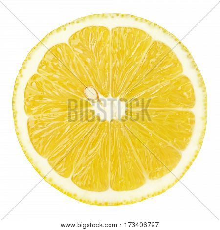Slice Of Lemon Citrus Fruit Isolated On White