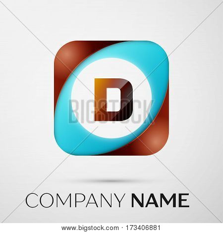 Letter D vector logo symbol in the colorful square on grey background. Vector template for your design