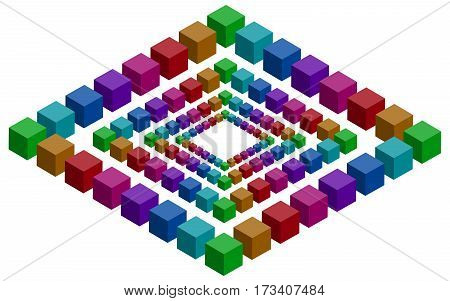 Rhombs constructed of a lot of colorful vector blocks. Isometric cubes for impossible 3d designing. Mathematical object with mental trick. Penrose optical illusion of brain.