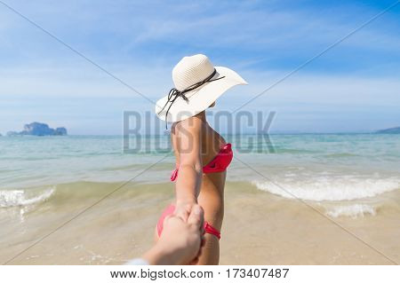 Couple On Beach Summer Vacation, Young People In Love Walking, Woman Holding Man Hand Sea Ocean Holiday Travel