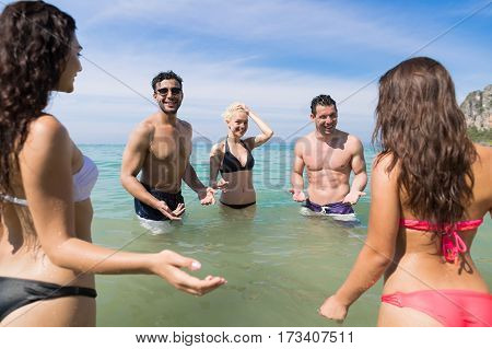 Young People Group On Beach Summer Vacation, Happy Smiling Friends In Water Sea Ocean Holiday Travel