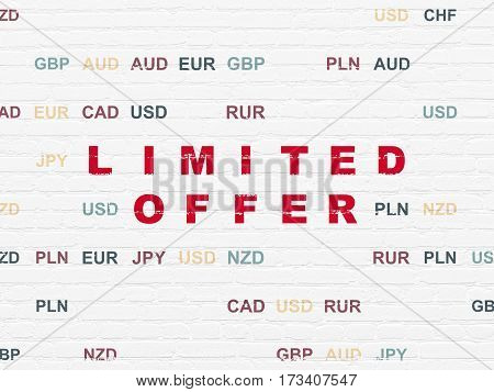 Business concept: Painted red text Limited Offer on White Brick wall background with Currency