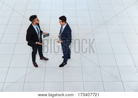 Two Business Man Meeting Discussing Project Plan Communicating, Businessman Talking Top Angle View, Businesspeople Colleague Team