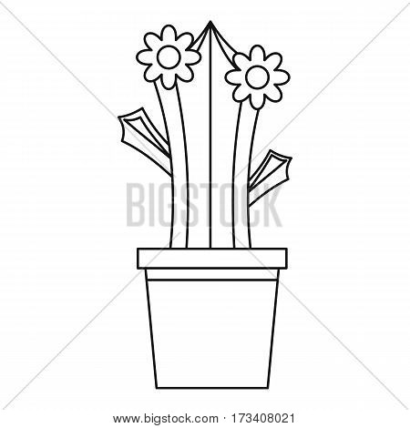 Blooming cactus in pot icon. Outline illustration of blooming cactus in pot vector icon for web