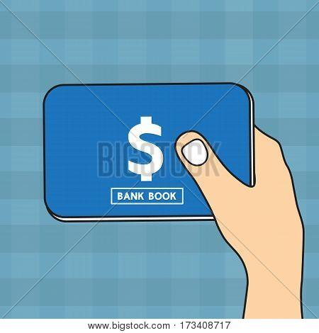 Hand holding Bankbook vector cartoon design .