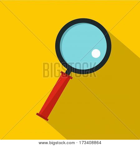 Magnifying glass icon. Flat illustration of magnifying glass vector icon for web isolated on yellow background