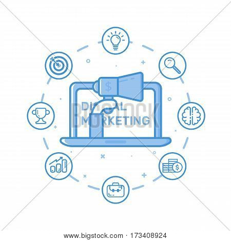 Vector illustration of filled bold outline hand holding megaphone coming out from laptop. Graphic design concept of digital marketing. Use in Web Project and Applications. Blue line icons isolated.