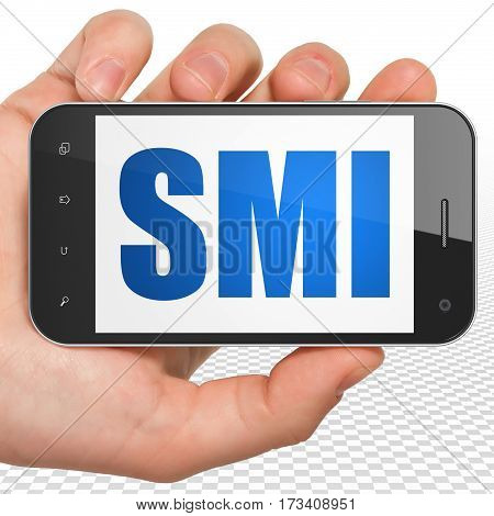 Stock market indexes concept: Hand Holding Smartphone with blue text SMI on display, 3D rendering