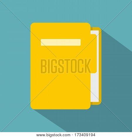 Yellow file folder icon. Flat illustration of yellow file folder vector icon for web isolated on baby blue background