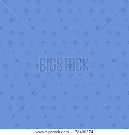 Vector illustration of seamless pattern with blue icons in flat line style. Geometric symbols. Use in web project applications, posters and banners. Outline isolated object. Texture Background.
